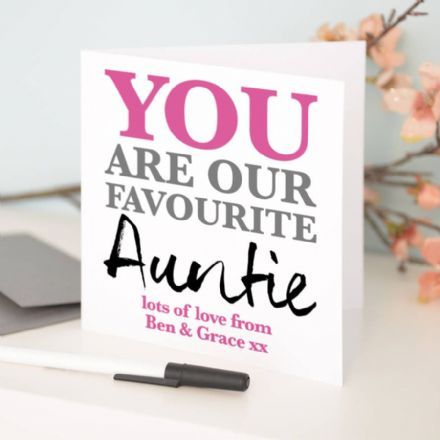 Personalised 'Favourite Auntie' Birthday Card